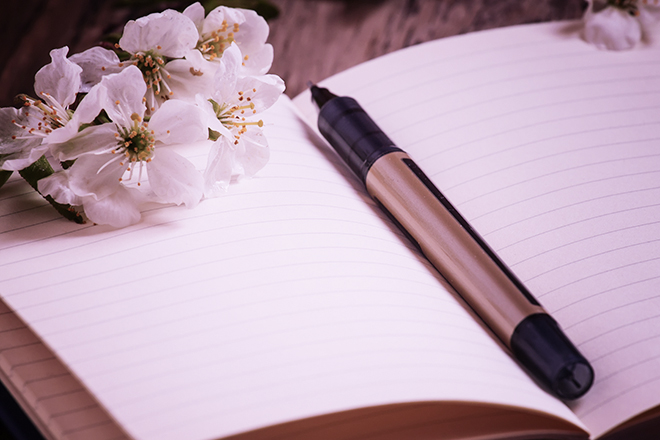 cherry blossom on a notepad with a pen, selective focus
